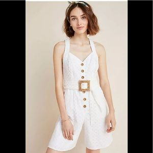 New 6 or 10 Anthropologie Belted Eyelet Romper